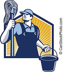 custode, pulitore, presa a terra, pulire pavimento secchio,...