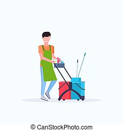 custode, pulizia, servizio, presa a terra, carrello, femmina, carrello, uniforme, pieno, provviste, appartamento, pulitore, lunghezza, concetto, donna