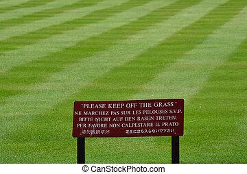 custodire, erba, paesaggio, segno