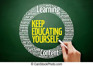 custodire, istruzione, te stesso, parola, nuvola