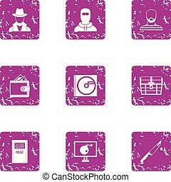 Custody icons set, grunge style - Custody icons set. Grunge ...