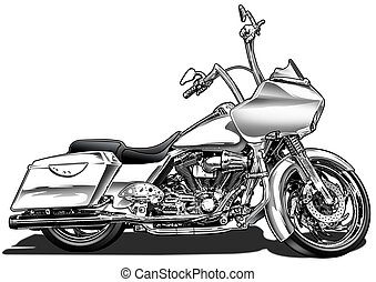 Custom Bagger Motorcycle - Black Line and Airbrush...