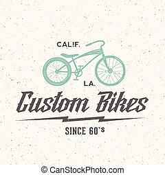 Custom Bicycle Retro Vector Label or Logo Template
