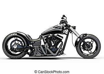 Custom black motorcycle on a white background.