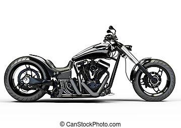 Custom black motorcycle on a white background.
