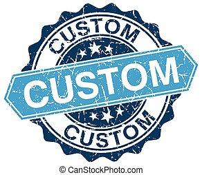 custom blue round grunge stamp on white