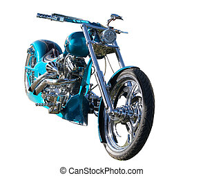 Custom Built Motorbike - A teal custom built bike with...