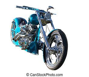 Custom Built Motorbike - A teal custom built bike with...
