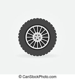 Custom car wheel vector flat icon