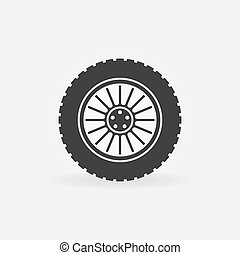 Custom car wheel vector icon or logo element