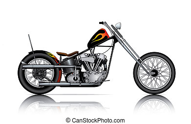 vector cartoon motorbike drawingsby mechanik654941 custom chopper isolated on white background