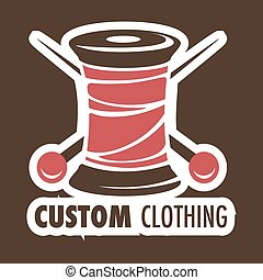 Custom clothing shop icon threads coil and needles - Threads...