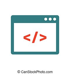 Custom coding flat icon