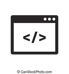 Custom coding icon. Web development symbol
