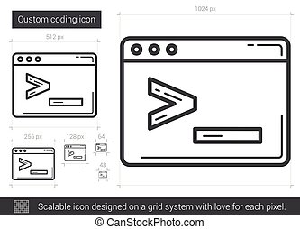 Custom coding line icon.