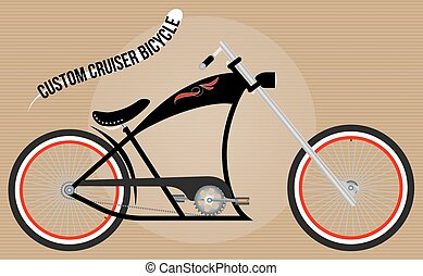 Chopper bicycle  Hand drawn vector illustration or drawing of a