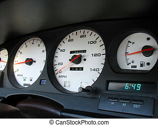 custom gauges - A shot of a driver's cockpit from a late ...