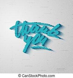 "Custom handwritten  ""Thank you"" card, grunge style lettering"