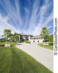 Custom Home with a dramatic sky