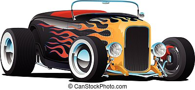 Custom Hot Rod Roadster Car with Flames, Chrome Rims and White Wall Tires, Isolated Vector Illustration