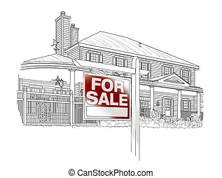 Custom House and For Sale Real Estate Sign Drawing on White Background.
