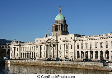Dublin - Custom House - beautiful architecture landmark of...