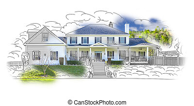 House Drawing and Photo Combination on White - Custom House...