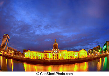 Custom House on the river Liffey in Dublin fish-eye at night.