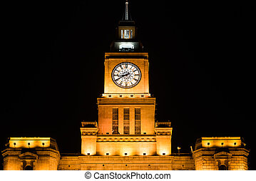 custom house rooftop the bund at night shanghai china -...