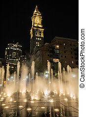 Custom House Tower Looms Behind Fountain