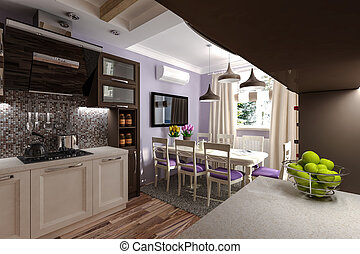 Custom Kitchen 3d model kitchen in the house
