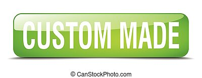 custom made green square 3d realistic isolated web button