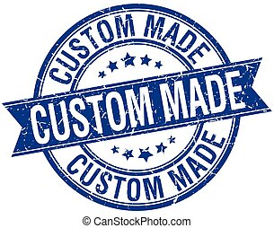 custom made grunge retro blue isolated ribbon stamp