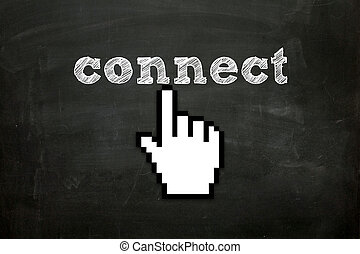 "connect - custom made hand cursor clicking ""connect"" text on..."
