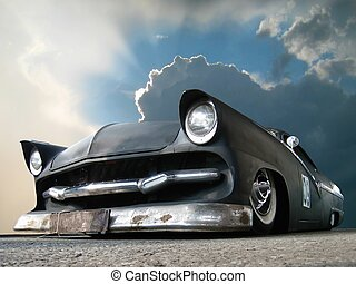 Custom made matt black show car and dangerous clouds