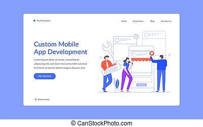 Custom mobile app development landing web site