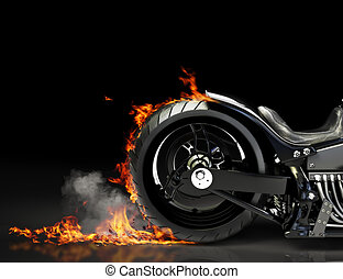 Custom motorcycle burnout on a black background. Room for...