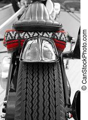 custom motorcycle - custom bike traveling light on a...