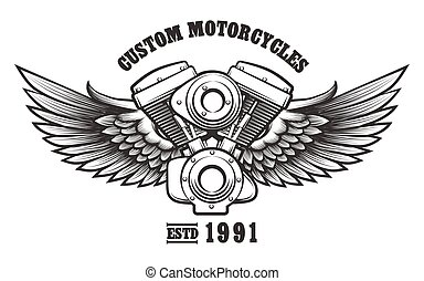 Custom Motorcycle workshop Emblem - Motorcycle engine and...