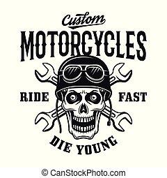Custom motorcycles vintage emblem with skull