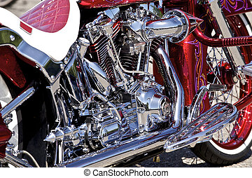 Custom Paint, Chrome and special Plating contribute to this motorcycles uniqueness.