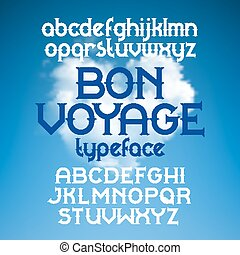 Custom retro typeface Bon Voyage. Vintage alphabet font set on the background of heart shape cloudscape