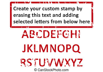 An empty office rubberstamp with the grunge letters enabling you to create your own rubber stamp by erasing the black text and copying letters to form your chosen word.