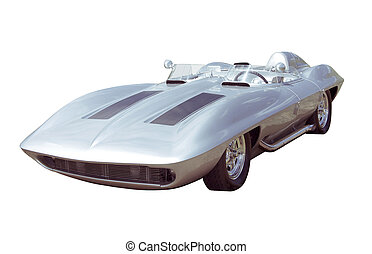 Custom Sport Car Isolated - A silver convertible sports car...
