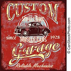 custom street rod garage - garage metal sign board vector ...