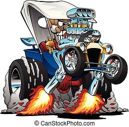 Custom T-bucket Roadster Hotrod Cartoon Vector Illustration