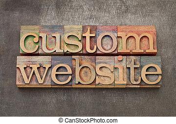 custom website - text in vintage letterpress printing blocks...