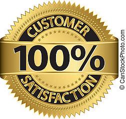 Customer 100 percent satisfaction golden label, vector...