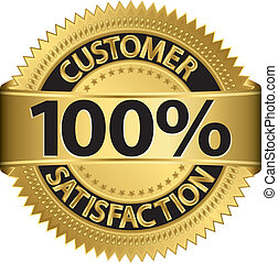 Customer 100 percent satisfaction golden label, vector illustration
