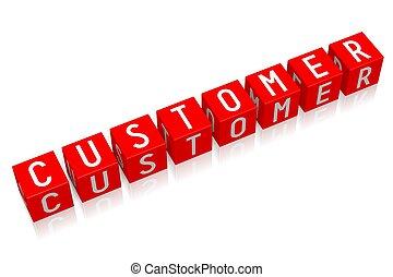 Customer - 3D cube word